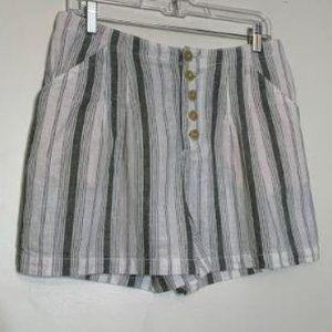 Anthropologie Beachy Linen High Waist Shorts